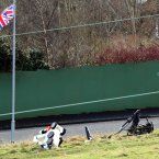 Two army bomb disposal robots beside a suspected mortar bomb. (Image: Paul Faith/PA Wire)