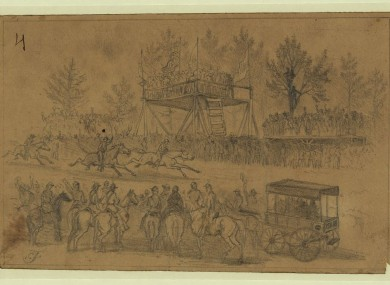 Hurdle Race, St. Patricks Day 1863, Army of the Potomac by Edwin Forbes