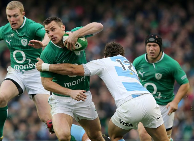 Tommy Bowe tackled by Santiago Fernandez 24/11/2012
