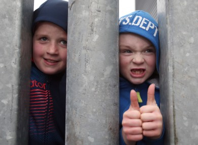 Young Limerick FC supporters ignore the cold. 