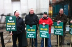 Garda protest outside EU finance ministers meeting in Dublin Castle