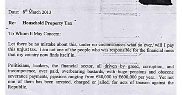'You will not beat us into submission' – man (73) pens anti-property tax letter