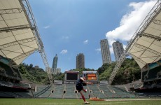 Snapshot: Jonny Sexton gets in some Hong Kong kicking practice