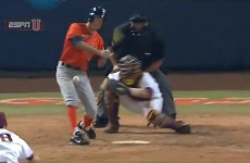 You're likely to wince while watching this baseball in the groin