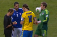 Zlatan throws ball in goalkeeper's face, because Zlatan is Zlatan